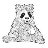 Vector monochrome hand drawn zentagle illustration of panda bear Stock Image
