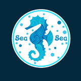 Vector monochrome hand drawn zentagle illustration of sea horse. Royalty Free Stock Photos
