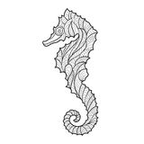 Vector monochrome hand drawn zentagle illustration of sea horse. Royalty Free Stock Photo