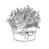 Vector monochrome holiday flower bouquet Stock Images