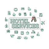 Vector monochrome hotel services concept illustration. Vector monochrome hotel services related concept illustration. Laundry, minibar, cleaning  other service Stock Image