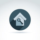 Vector monochrome house with a key isolated on white background. Stock Images