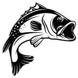 Vector monochrome illustration of bass with fins, tail and open mouth Royalty Free Stock Photography