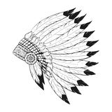 Vector monochrome illustration of native American war bonnet.