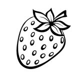 Vector monochrome illustration of strawberries logo. Royalty Free Stock Images