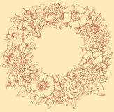 Vector monochrome illustration. Ukrainian Wreath Stock Images
