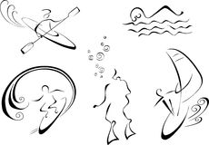 Vector monochrome illustration of water sports Royalty Free Stock Photos