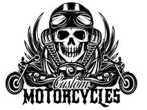Vector monochrome image with skulls, motorcycles, wings, engine. Vector monochrome image on a motorcycle theme with skulls, motorcycles, wings, engine Royalty Free Stock Image