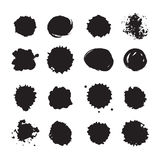 Vector monochrome ink dots, blots, smudges and drops set.  Royalty Free Stock Images