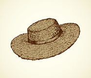 Vector monochrome line drawing of a straw hat Stock Photography