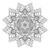 Vector Monochrome Mandala. Ethnic Decorative Round Element royalty free illustration