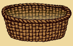 Vector Monochrome Picture. Empty Wicker Basket Royalty Free Stock Photos