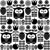 Scandinavian seamless cute pattern with owl and flower, inspired by Swedish and Finnish folk art, black and white Nordic style vector illustration