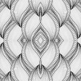 Vector Monochrome Seamless Abstract Tribal Pattern with Waves. Hand Drawn Ethnic Texture, Flight of Imagination. Beautiful Folkloric Pattern Royalty Free Stock Images