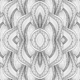 Vector Monochrome Seamless Abstract Tribal Pattern with Waves. Hand Drawn Ethnic Texture, Flight of Imagination. Beautiful Folkloric Pattern Stock Images