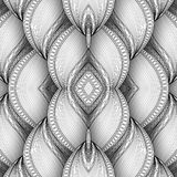 Vector Monochrome Seamless Abstract Tribal Pattern with Waves. Hand Drawn Ethnic Texture, Flight of Imagination. Beautiful Folkloric Pattern. Doodle Style with Royalty Free Stock Image