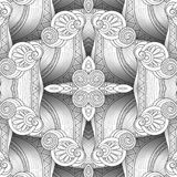 Vector Monochrome Seamless Abstract Tribal Pattern with Waves. Hand Drawn Ethnic Texture, Flight of Imagination. Beautiful Folkloric Pattern. Doodle Style with Royalty Free Stock Photography