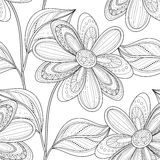 Vector Monochrome Seamless Floral Pattern Royalty Free Stock Photography