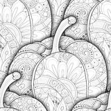 Vector Monochrome Seamless Pattern with Decorative Bell Pepper Royalty Free Stock Images