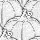Vector Monochrome Seamless Pattern with Decorative Pumpkin. Eating Plant. Thanksgiving Holiday Symbol. Halloween Decorations royalty free illustration