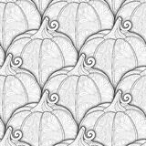 Vector Monochrome Seamless Pattern with Decorative Pumpkin Stock Images