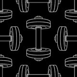Vector monochrome seamless pattern with dumbbells Royalty Free Stock Photo