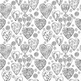 Vector monochrome seamless pattern of hearts with flowers. The best for Valentines's Day, Wedding and Birthday design. Stock Image
