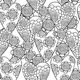 Vector monochrome seamless pattern of hearts with flowers. The best for Valentines's Day, Wedding and Birthday design. Royalty Free Stock Image
