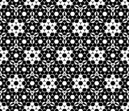 Vector monochrome seamless pattern, hexagonal floral elements Stock Images