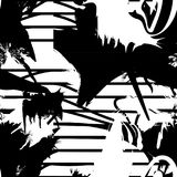 Vector monochrome seamless pattern with ink brush strokes. Stock Photo