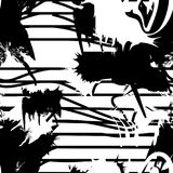 Vector monochrome seamless pattern with ink brush strokes. royalty free illustration