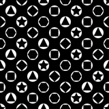 Vector monochrome seamless pattern, simple dark texture with geometric figures, circles rings, black white abstract Stock Photo