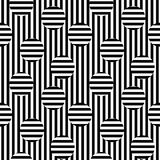 Vector monochrome seamless pattern, striped illusion. Vector monochrome seamless pattern. Black & white stripes texture. Optical illusion, horizontal and Royalty Free Stock Photo