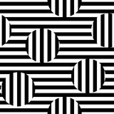 Vector monochrome seamless pattern, striped illusion. Vector monochrome seamless pattern. Black & white striped texture. Visual illusion effect, horizontal and Royalty Free Stock Photo