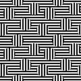 Vector monochrome seamless pattern, striped illusion. Vector monochrome seamless pattern. Black & white striped texture. Visual illusion effect, horizontal and Stock Photos