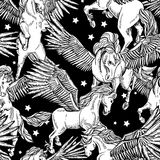 Vector monochrome seamless pattern of winged pegasus Royalty Free Stock Image