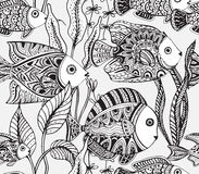 Vector monochrome seamless sea pattern with tropical fishes Stock Photography