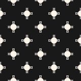 Abstract geometric pattern with simple figures, crosses, circles. Vector monochrome seamless texture, abstract geometric pattern with simple figures, crosses Stock Photos