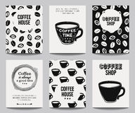 Vector monochrome set of modern posters with coffee backgrounds Royalty Free Stock Photography