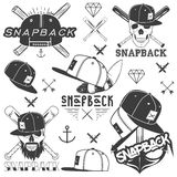 Vector monochrome set of snapback badges, emblems, labels, logos and design elements. Isolated illustration in vintage Stock Photos