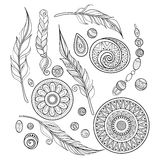 Vector Monochrome Set of Tribal Decorative Objects. Abstract Desing Elements with Ethnic Style Ornaments. Folkloric Feathers,  Beades and Coins. Swirl Doodle Royalty Free Stock Images