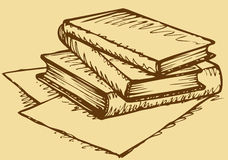 Vector monochrome sketch. Stack of books. Vector monochrome freehand sketchy ink linear drawn backdrop in doodle style pen on paper with space for text. Stack of Royalty Free Stock Images