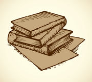Vector monochrome sketch. Stack of books Royalty Free Stock Photos