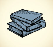 Vector monochrome sketch. Stack of books Royalty Free Stock Photo