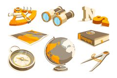 Vector monochrome symbols of exploration and geography. Equipment geography, sextant and compass, teaching technology astronomy illustration vector illustration