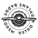 Vector monochrome template for design with propeller of a vintage military aircraft stock image