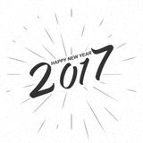 Vector monochrome text Happy New Year 2017 for greeting card, flyer, poster logo. Monochrome text Happy New Year 2017 for greeting card, flyer, poster logo Stock Photo