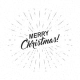 Vector monochrome text Merry Christmas for greeting card, flyer, poster logo with lettering, light rays. Monochrome text Merry Christmas for greeting card Royalty Free Stock Photography