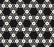 Vector geometric seamless pattern with big and small hexagons. Vector monochrome texture, simple geometric seamless pattern with big and small hexagons. Black royalty free illustration