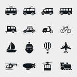 Vector monochrome transport and vehicle icons Stock Images